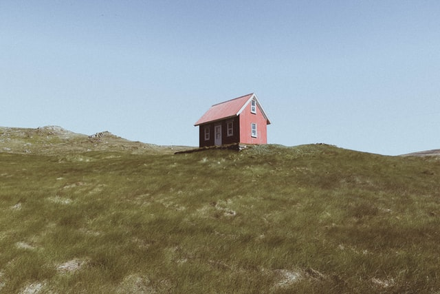 tiny shed on a hill