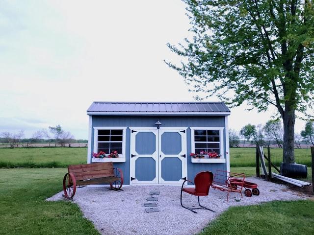 pale blue shed